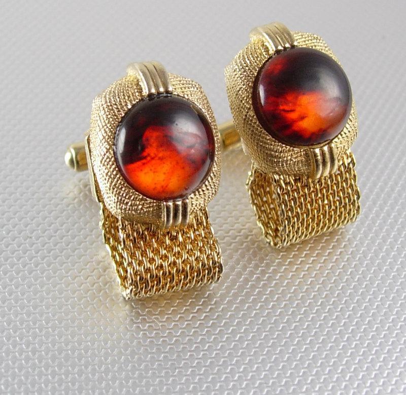 Swank Picture Agate Cufflinks Vintage Ghostly Gold  Mesh Wrap Fine jewelry Designer mens formal wear tuxedo jewellery