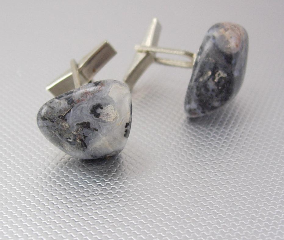 Geologist cufflinks mens gift ONE of a KIND Cufflinks Vintage Tumbled Stone Gray Agate Distinctive silver anniversary granite look