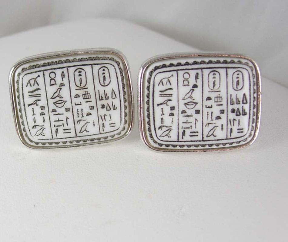Extra Large EGYPTIAN Revival Cufflinks Vintage HIEROGLYPHICS History mens cool gift Silver cuff links Egypt Professor Gift
