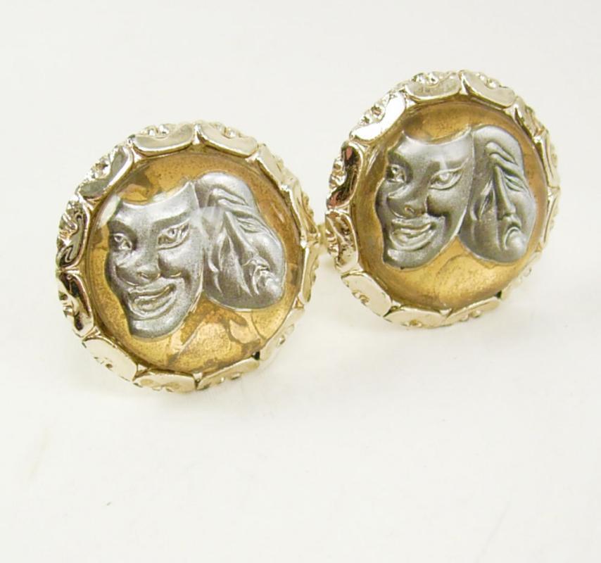 Vintage Reverse Paint Cufflinks Drama Comedy Gold Tone Birthday Wedding Phantom of the Opera