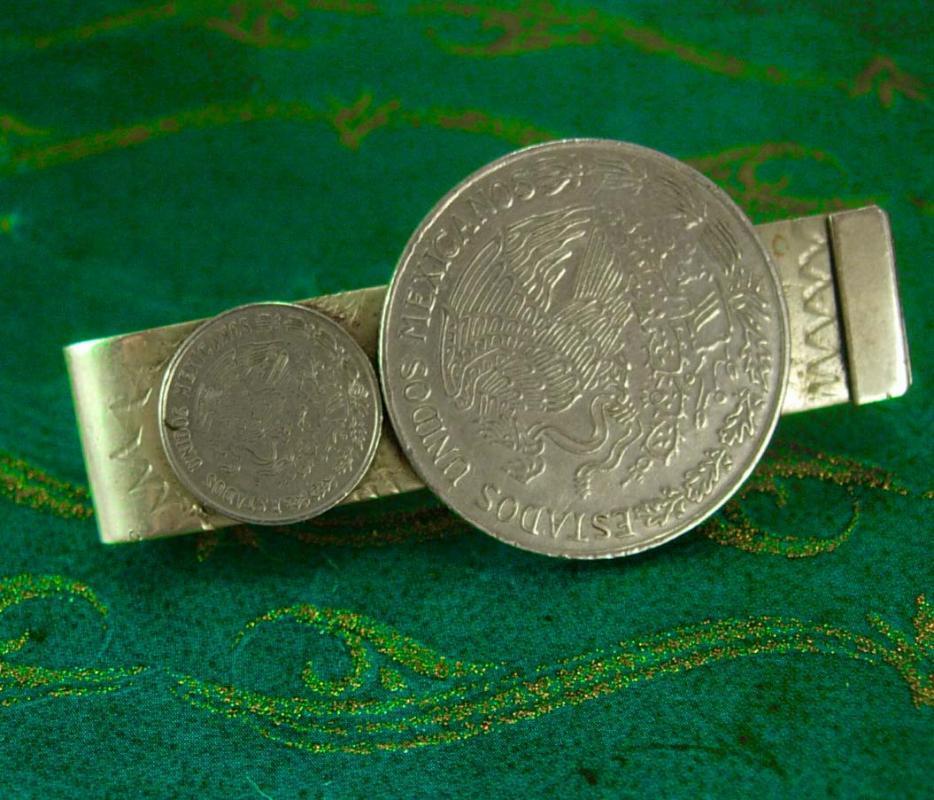 VINTAGE Coin Money Clip RAG Hecho en Mexico Un Peso Mexicano SIGNED Vintage Mens cool gift silver jewelry