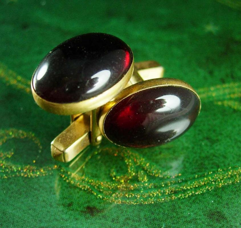 RED Cufflinks Swank Formal wear gold jeweled 15th 40th 45th Anniversary gift Classic wedding jewelry  designer