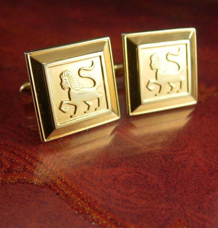 Egyptian SPHINX Cufflinks Designer Swank Vintage Mythical Pharoah Men's Historical Figural Tie Accessory gold gift for men