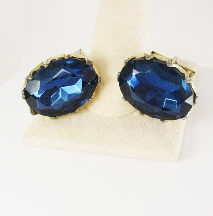Huge Cuff links Blue Rhinestone Vintage Cufflinks Faucet Jeweled Wedding Anniversary