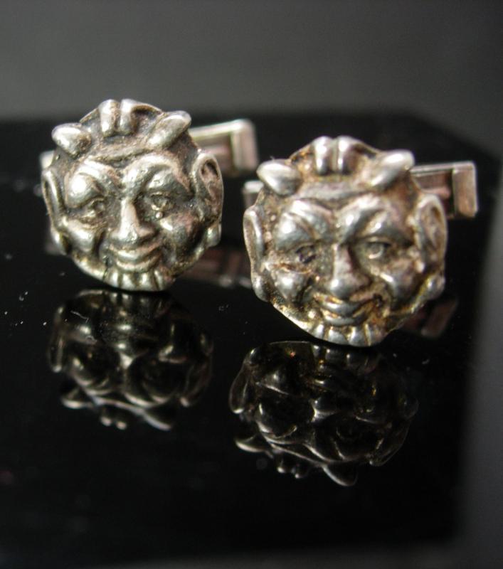 Vintage Devil Cufflinks 800 SILVER demon satan grotesque horn figural mens cuff links novelty jewelry Italy Italian designer