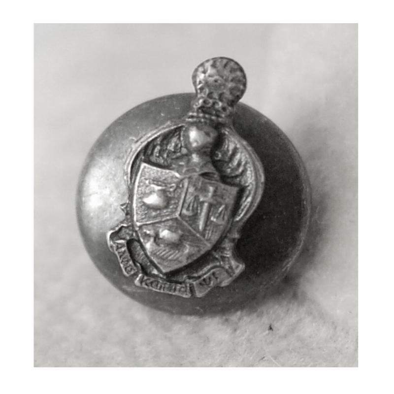 Antique Sterling Tie tack Knight Crest lapel pin  Shield Renaissance Medieval Fraternal Silver Latin cravat holder