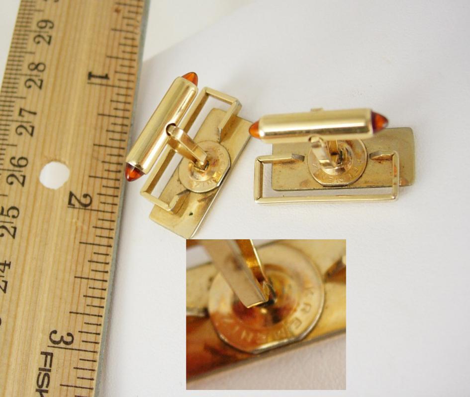 Cufflinks Krementz Script Initials L Mc A  LMA Vintage Amber Jewel at ends of posts High Quality Business Anniversary Christmas
