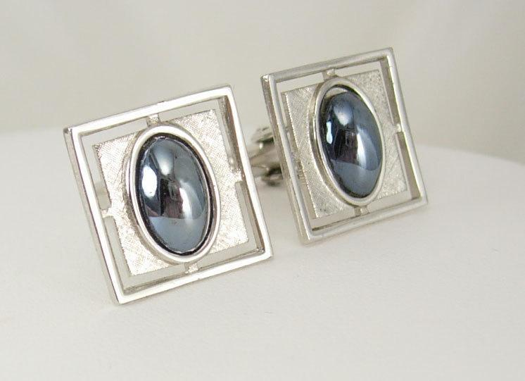 Vintage Silvertone Hematite Cufflinks Wedding Business Birthday Signed Anson