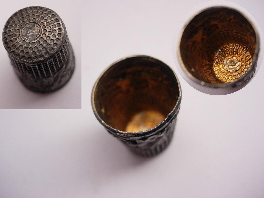 Vintage sterling ornate Religious Fatima thimble 14kt gold inside Virgin Mary italian Thimble