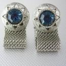 Blue Topaz Faceted Cufflinks Vintage Silver Mesh Wrap Jeweled Cut Out Star Wedding December birthstone  jewelry sagittarius capricorn