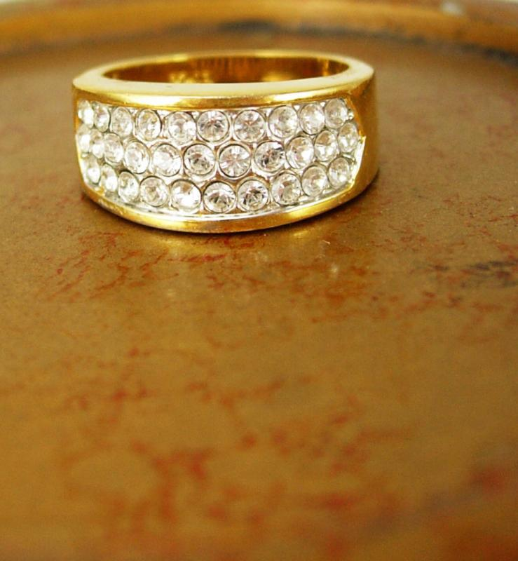 reserved for eve Vintage EDCO Ring  Gold Silver Engagement band  Size 7 Pave Wedding Band Dinner Cocktail Anniversary womens ladies jewelry