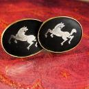 Mythical Horse Cuff links Vintage gold Japanese Cufflinks mosaic Exotic silver Horse Amita Japan