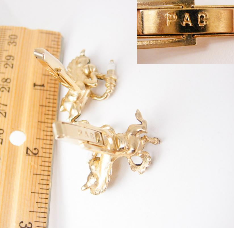 Vintage Sparky Spark Plug Cufflinks Horse PAC gold Advertising Collector auto mechanic gift