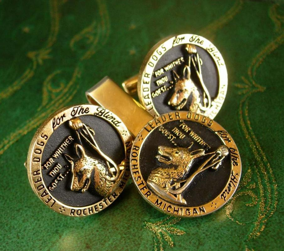 SEEING GUIDE DOG Cufflinks Vintage Tie Clip Set for the blind Leader Dogs Trainers Visually Challenged Designer Bates & Bacon Tie bar