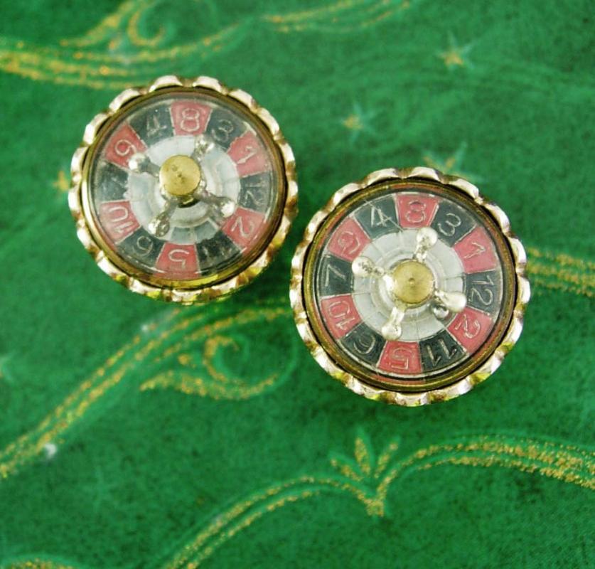 Roulette Wheel Cuff links THAT SPINS Casino Cufflinks Vintage Gambling Mechanical Betting Dealer Lucky Number Shirt Accessory