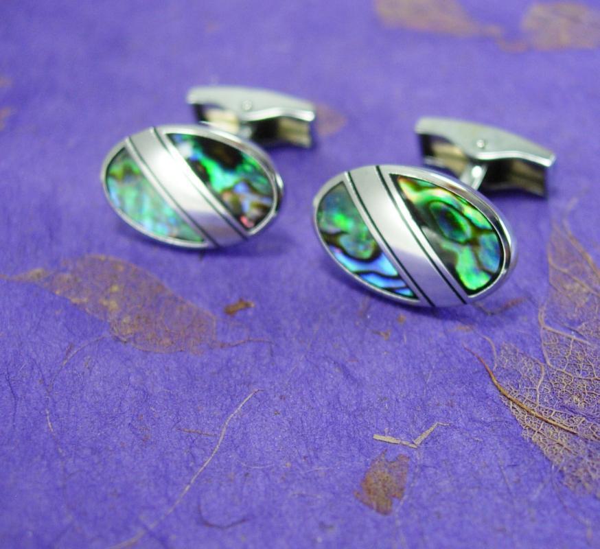 Vintage ABALONE Cufflinks Mens Womens Silver Nautical mosaic Cuff Link gold Accessory Hawaii honeymoon wedding groom hipster jewelry
