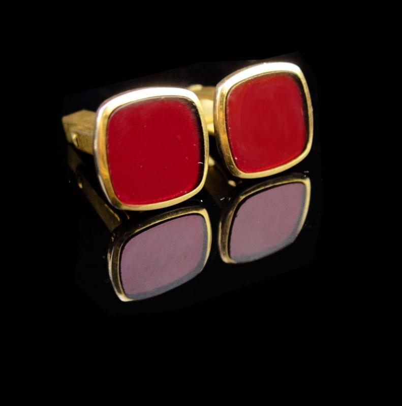 Red cufflinks / vintage Art Deco set / Gold plated / groom accessory / gift for him