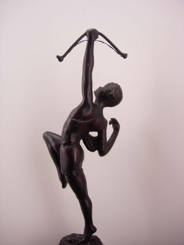 Antique art deco Cupid statue / erotic bronze archer / Vintage mythical statue / bow & arrow/  valentines gift / birthday her /gift for him