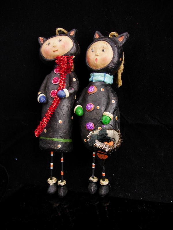 Devil and Angel Christmas Ornaments / Whimsical folk art dolls / halloween set / lump of coal / red pitchfork / Cat dolls /stocking stuffer