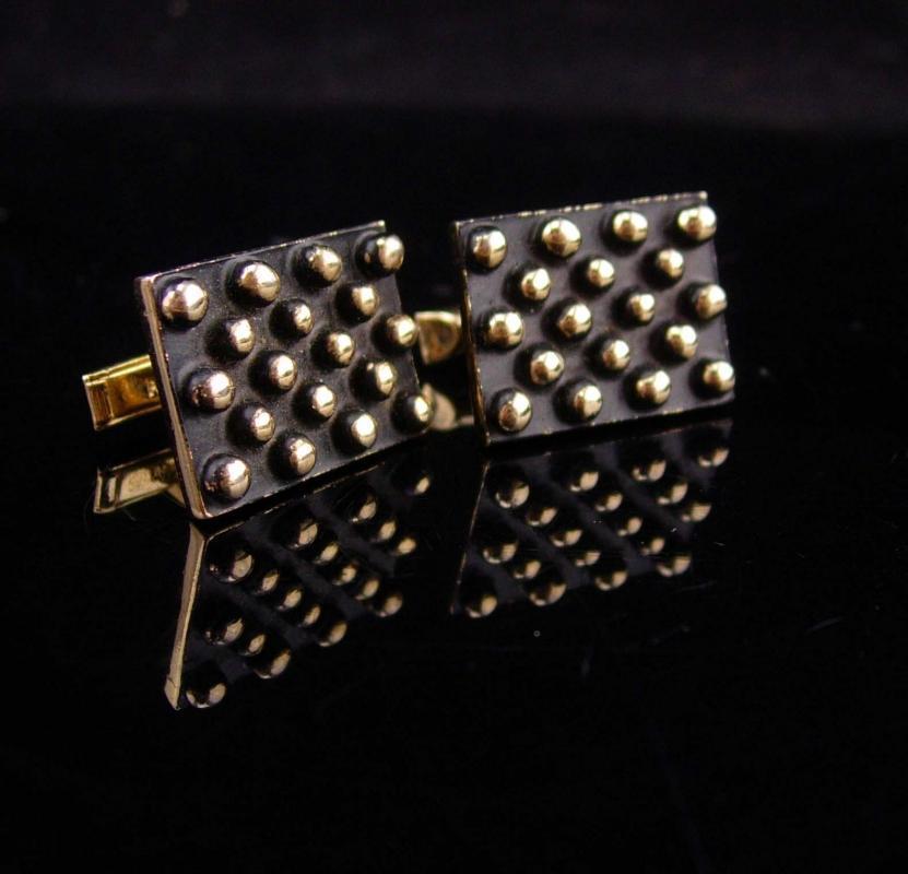 Vintage Enamel cufflinks 3d Industrial Cufflinks Gold cufflinks  pop culture tuxedo cufflinks Wedding Birthday modernist estate jewelry