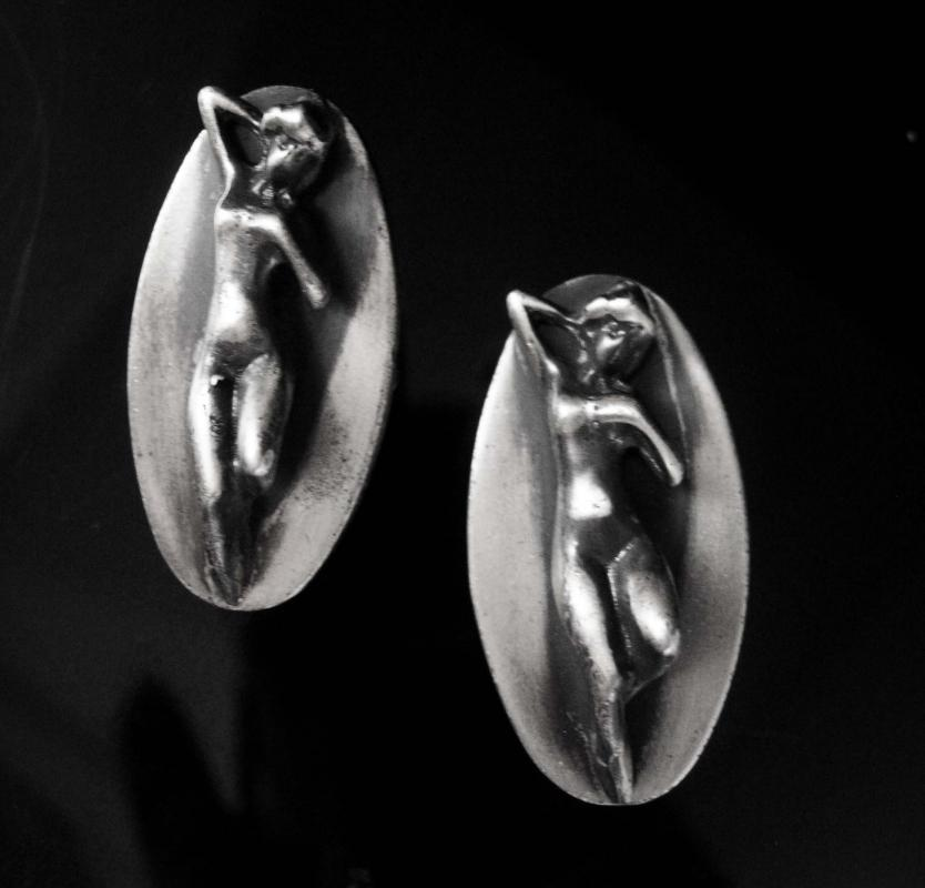 Art deco erotic cufflinks Sterling Vintage Tantra silver Mens Novelty Naughty Female nude Bachelor mature modernist sculpture   naked sexual