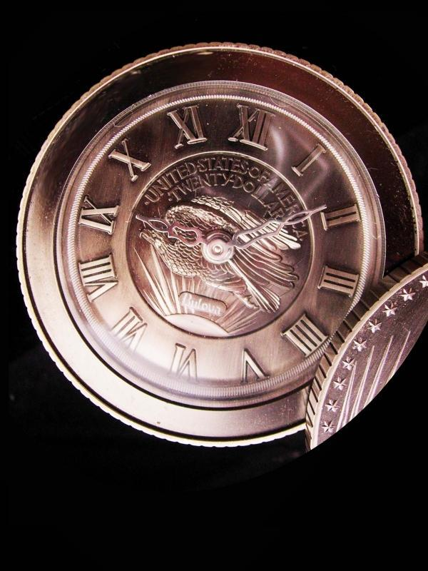 Large Novelty Liberty twenty dollar Coin clock / Bulova travel clock / mens novelty gift / Banker paperweight / stock market gift /