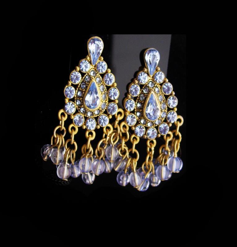 Vintage Rhinestone earrings / Clip on chandelier set / Gypsy bohemian earrings / gold blue stones / wedding jewelry / mother of  bride gift