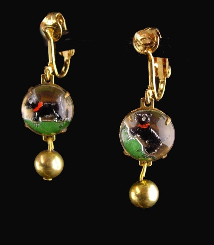Vintage Dog Earrings / Essex glass / Scottish Terrier / Reversed Painted / Best Friend gift / DOG SHOW westminster Terrier earrings