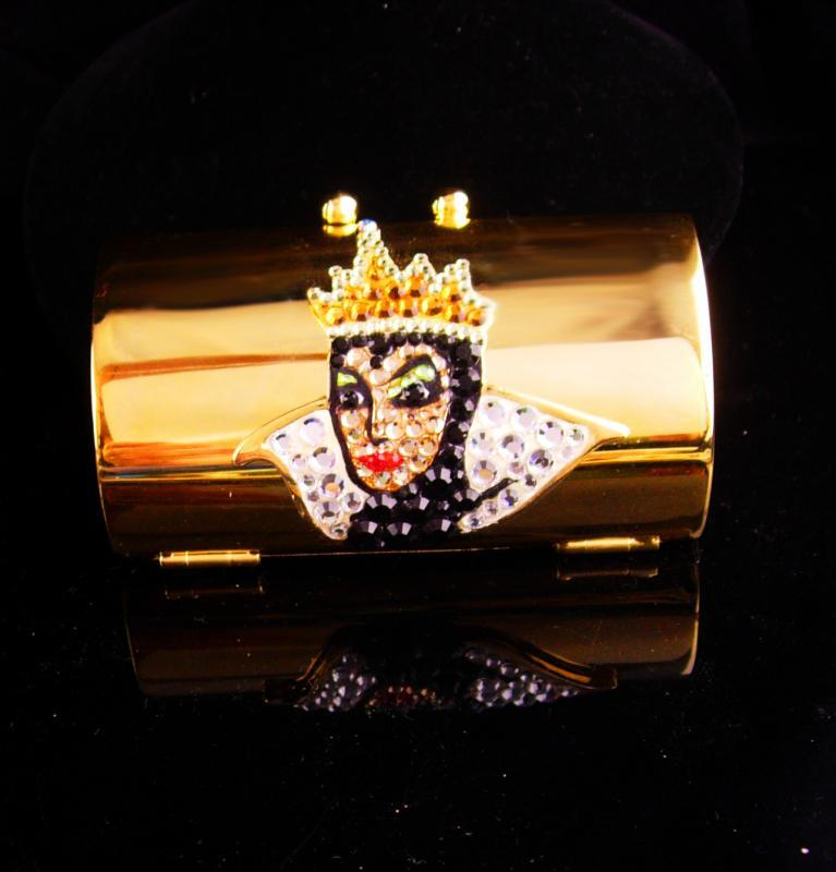Queen Lipstick case / Disney Rhinestone purse accessory / Evil Queen / bride gift / sister birthday / daughter gift / hinged compact case