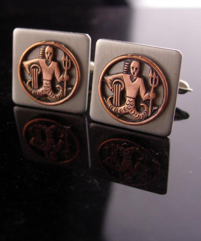 Poseidon Navy Cufflinks / vintage silver set / military insignia / USN mens gift  / Naval graduation gift / greek cufflinks / nautical gift