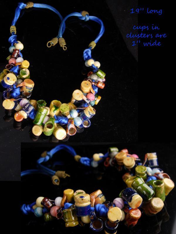 e80cd7d9c65cf Folk art Necklace / vintage mexican pottery / ethnic handmade pottery