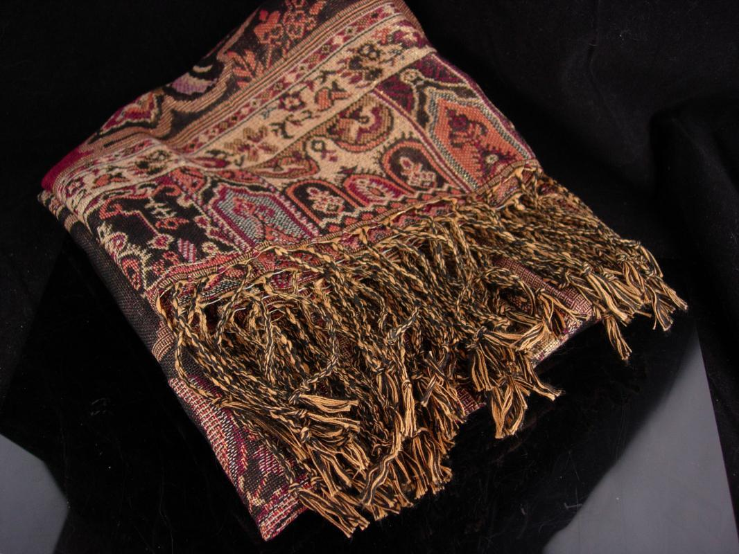 Bohemian colors / Pashmina Scarf / extra large wrap / never worn shawl / Fringe throw / Gypsy accessory  tapestry colors/ gift for her 68x27