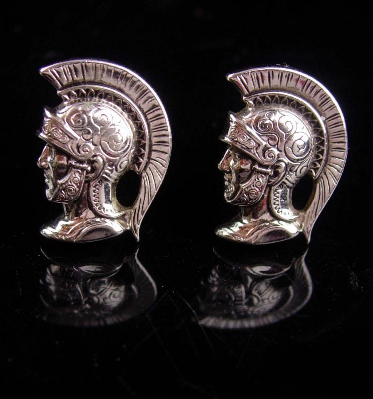 Medieval wedding set  / HICKOK CENTURION cufflinks / Roman Cufflink set / Vintage silver Knight / helmet Plume / knight in shining Armor