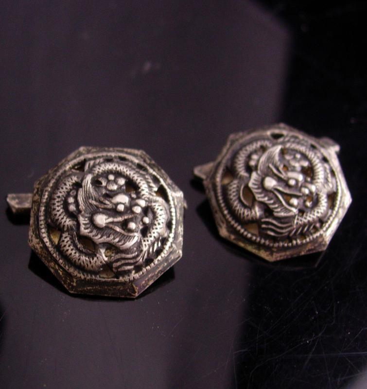 Antique Dragon Cufflinks / Vintage signed sterling cufflinks / Gothic Medieval set / Asian Silver gift / oriental mythology winged dragon