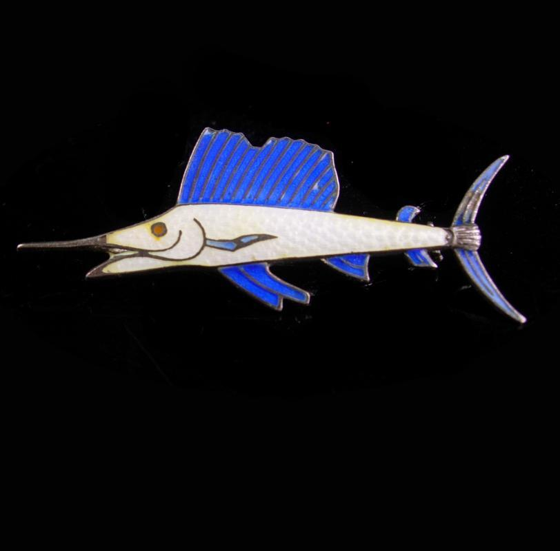 LARGE Swordfish Brooch / sterling Vintage Fishing pin / silver Fisherman gift /  Nautical retirement / anniversary / groomsmen fish gift