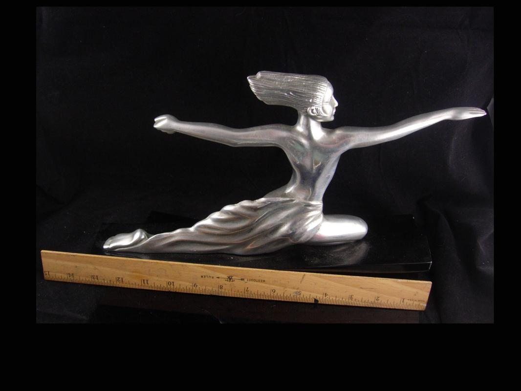 Erotic art deco statue / exotic nude Diana archer / Vintage mythical Nude / silver Metal Goddess statue / Mantle sculpture / signed art