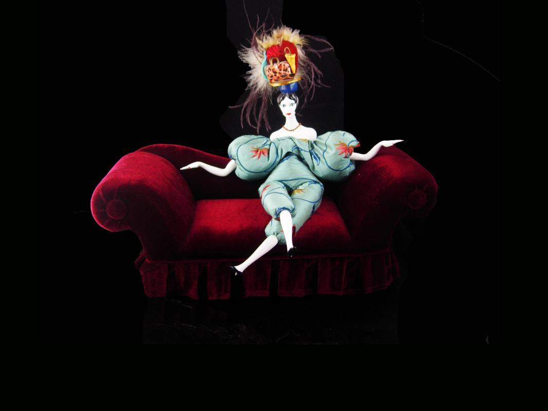Signed Flapper Doll / Victorian velvet couch / deco head / vintage feather headdress / Poupees Isabelle/  whimsical art / Handbag purse hat
