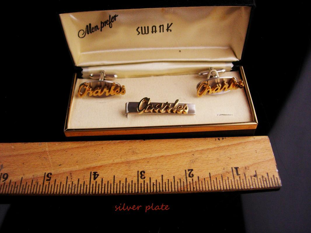 Personalized Charles Cufflinks set / Tieclip / Vintage Swank set / original box / Birthday gift / silver fathers day gift anniversary