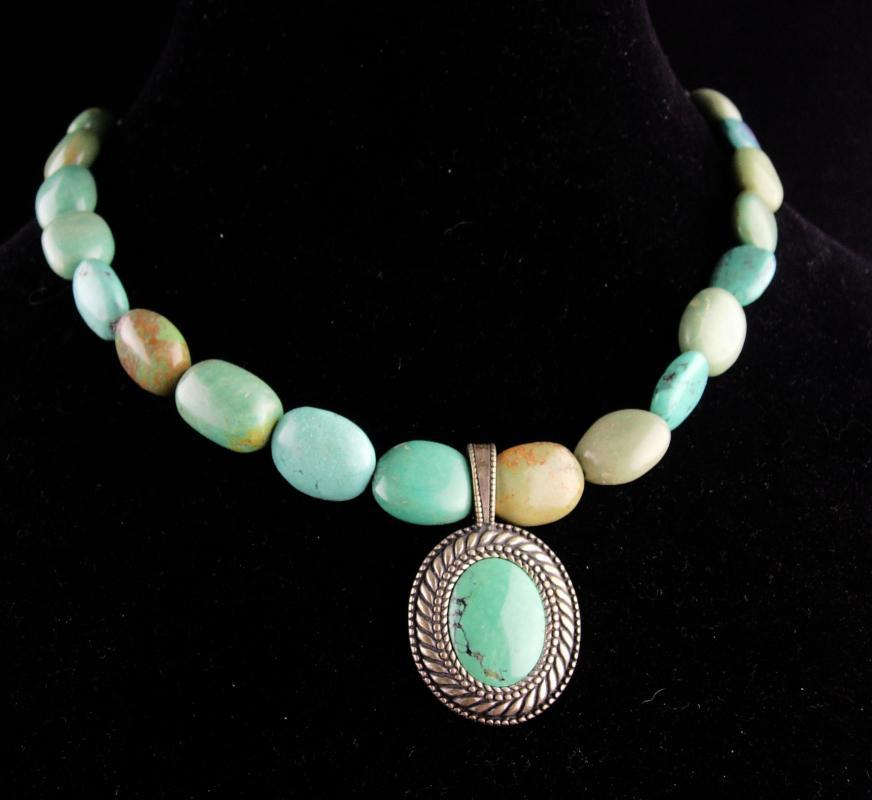 Chunky LARGE turquoise Necklace /  signed sterling pendant /  Carolyn Pollack /  Vintage Tribal Jewelry / Hippie style / indian design  / turquoise choker