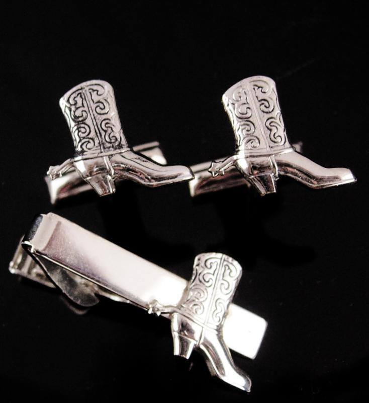 Boot cufflinks / Western Cuff links / silver Cowboy Boot Tie clip / Vintage Spurs / Texas Wild Wild West / Novelty Men's Clothing Accessory