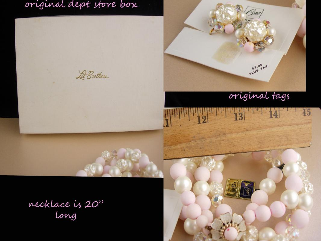 Vintage  Coro necklace set / original box & tags / Pink 2 strand necklace / baroque pearls / Clip on cluster earrings / mother of the bride