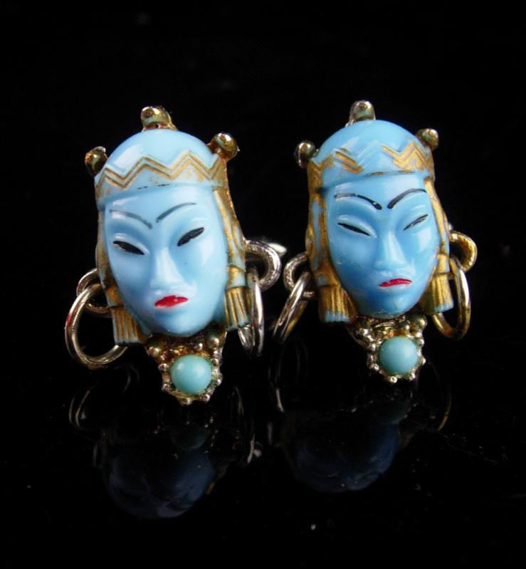 Vintage GODDESS Cufflinks /  blue asian heads / Oriental head with earrings / selro jewelry / asian princess / mask set / theater gift