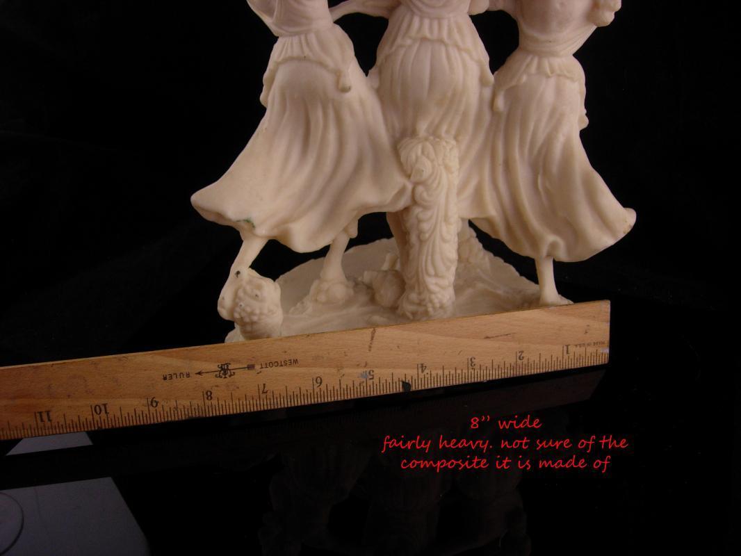 Erotic 3 graces statue - large vintage sculpture -  Vintage nude goddess - Greek  Mythology - large Mythical dancers - signed muses