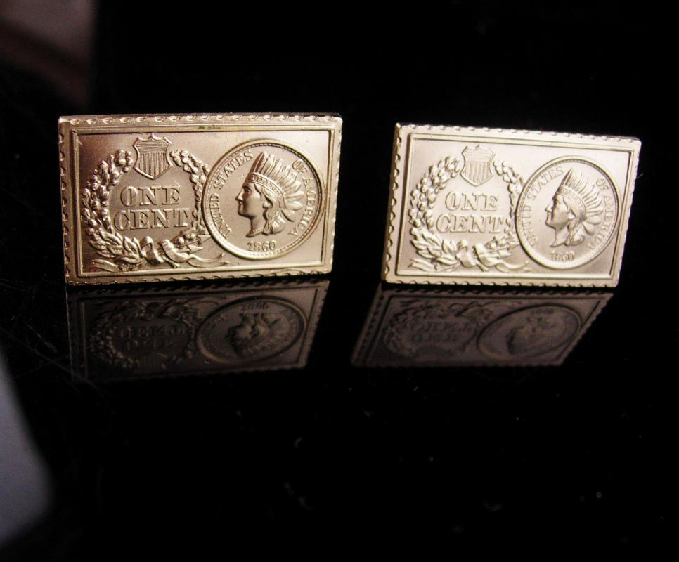 Vintage Coin Cufflinks - one cent - indian head - gold stamp - original box - 1860 Presidential art - anniversary gift - birthday gift  dad
