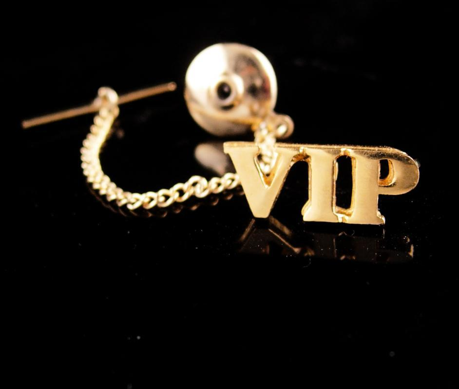 VIP Tie tack - Very Important Person pin - Vintage tie tack with chain - gift for Boss - anniversary gift - father of the bride gift