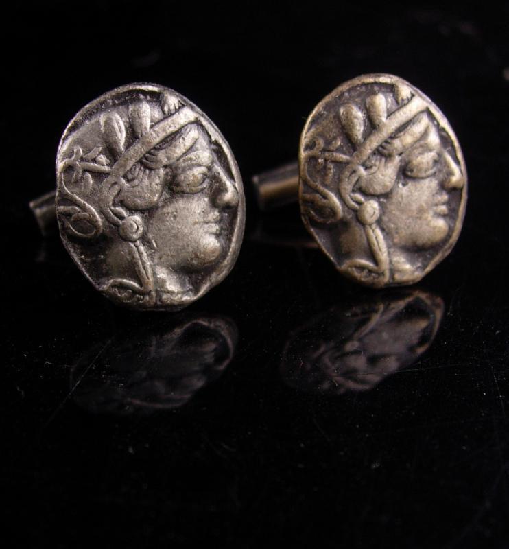 Ancient Coin Cufflinks - Vintage Julius Caesar -  estate jewelry - Roman tourist jewelry - Mythology byzantine set - poet author gift