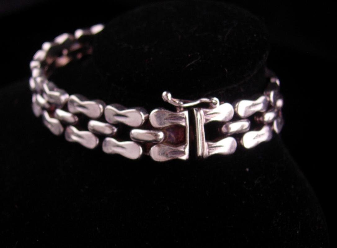 Wide Sterling bracelet - mens womens -  Vintage Italy link bracelet - 7