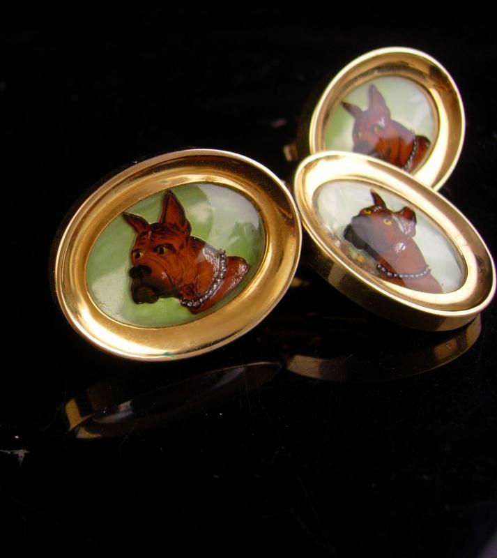 Gorgeous Boxer Cufflinks - vintage brown BullDog - great dane dog tie clip set - Dog Breeder gift - mens cool gift - gold foster cuff links