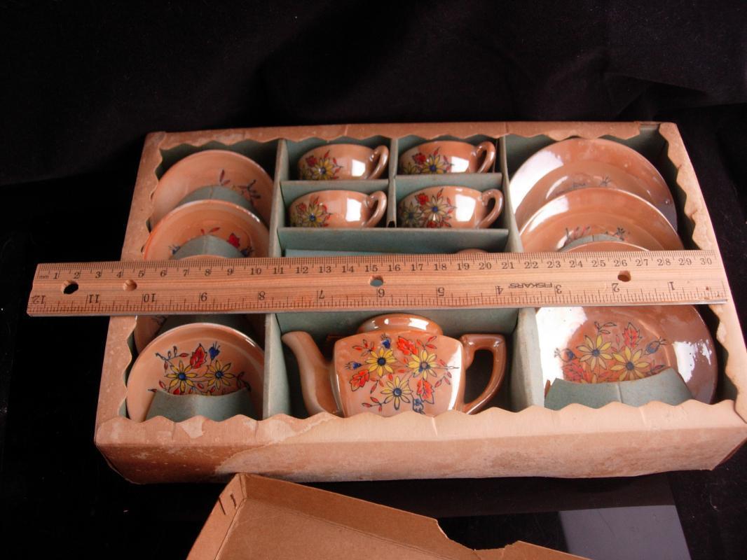 Vintage Miniature Teaset - Doll teapot - Japanese Lusterware - cups and saucers - oriental luster ware - childs teaset - original box