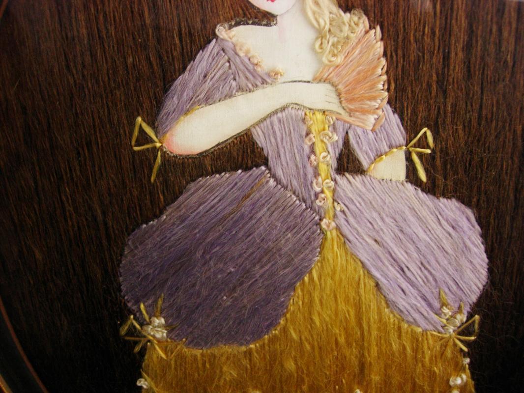 Antique 19th century Hair portrait - frame hair art - victorian fashion - Oval Victorian frame - hand painted doll Bustle dress under glass